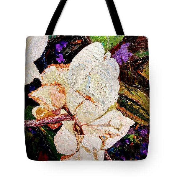 Tote Bag featuring the painting My Impasto Flowers by Ray Khalife
