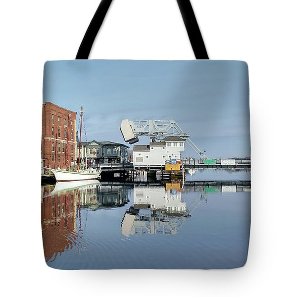 Mystic River Drawbridge With Sailing Ship Tote Bag