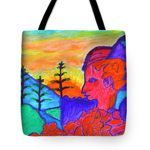 Mystical Rock With A Profile At Sunrise Tote Bag