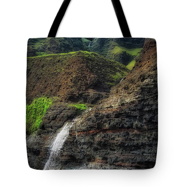 Tote Bag featuring the photograph Na Pali Coast Waterfall by Andy Konieczny