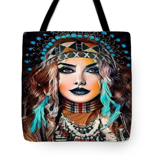 Nahimana The Sioux Indian Tote Bag