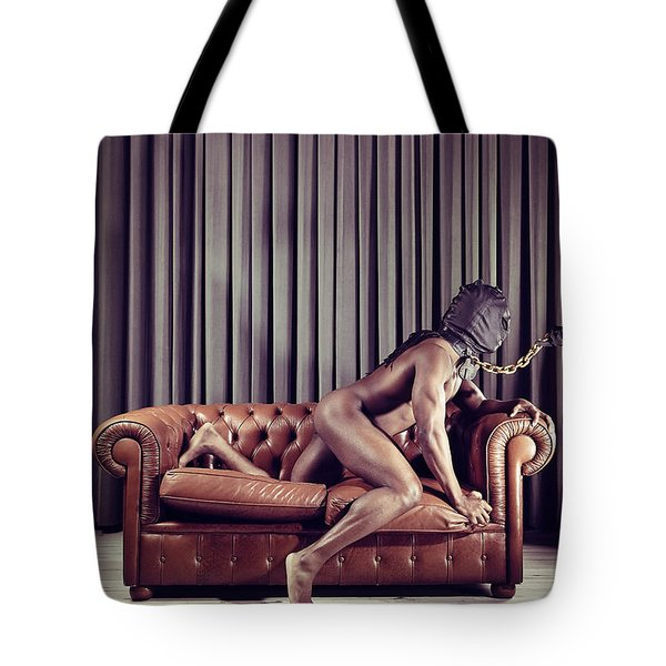 Naked Man With Mask On A Sofa Tote Bag
