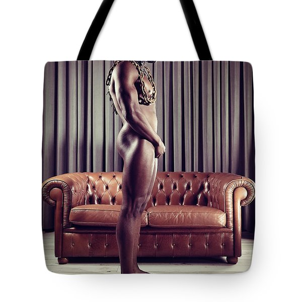 Naked Man With Mask Standing In Front Of A Sofa Tote Bag