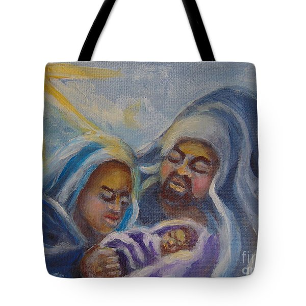Tote Bag featuring the painting Nativity by Saundra Johnson