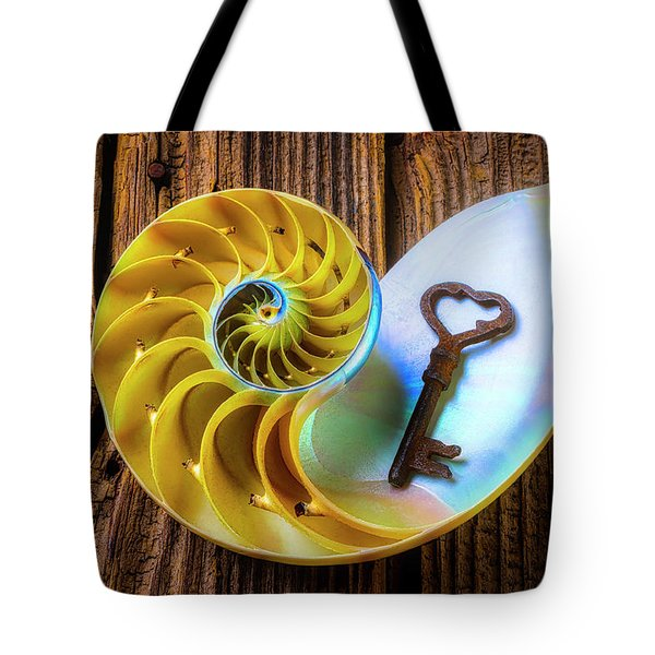 Nautilus Shell And Old Key Tote Bag