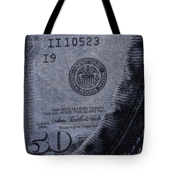 Navy Blue Denim And Money Tote Bag