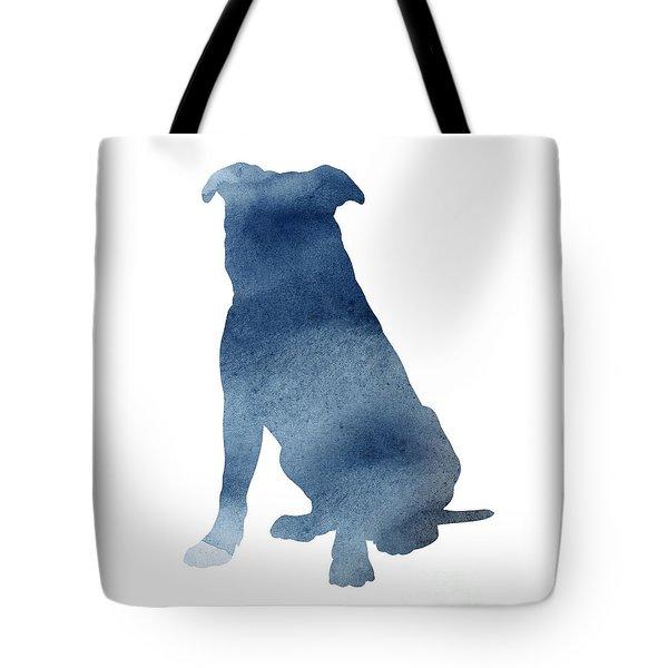 Navy Blue Pitbull Silhouette Sitting Facing Left  Tote Bag