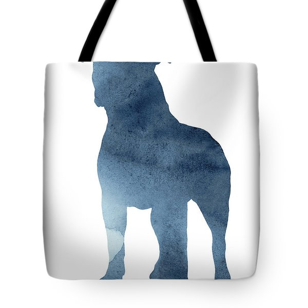 Navy Blue Pitbull Silhouette Standing Facing Left  Tote Bag