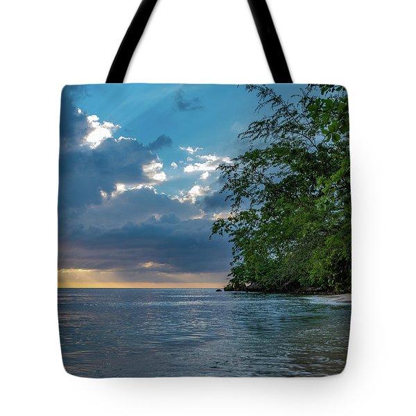 Negril Beach Sunburst At Sunset Tote Bag