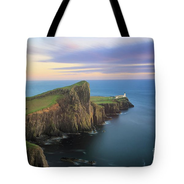 Tote Bag featuring the photograph Neist Point Lighthouse On Skye At Sunset by IPics Photography