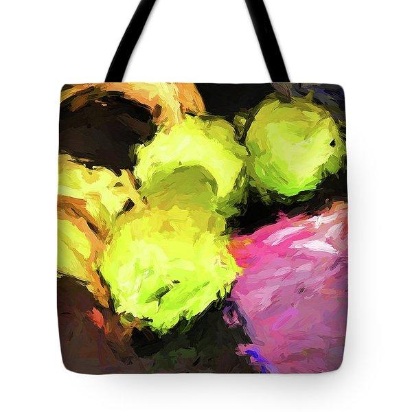 Neon Apples With Bananas Tote Bag