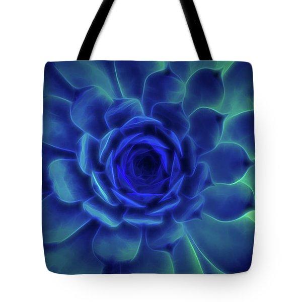Neon Blue Sempervivum Tote Bag