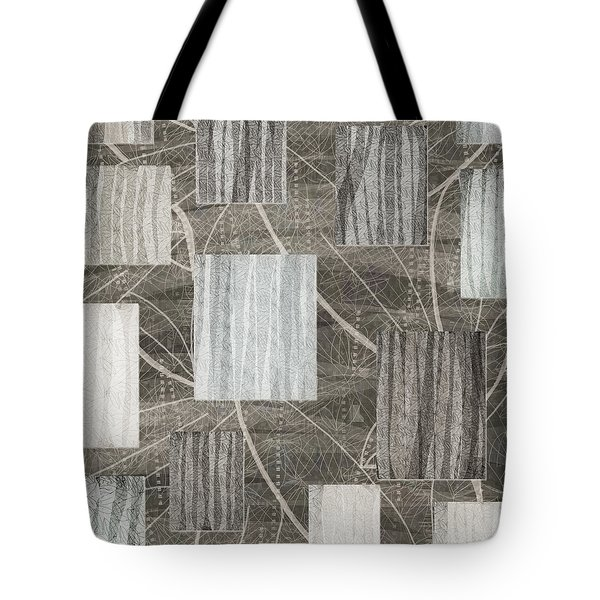 Neutral Leaf Print Squares Cream Tote Bag