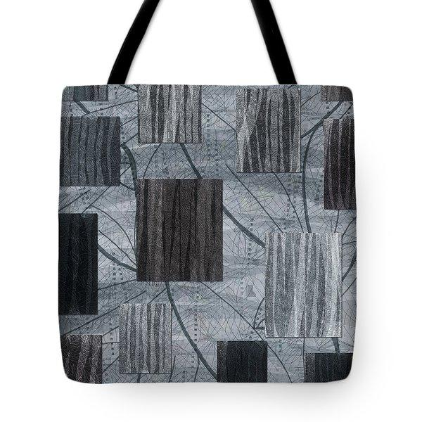 Neutral Toned Leaf Square Print Tote Bag