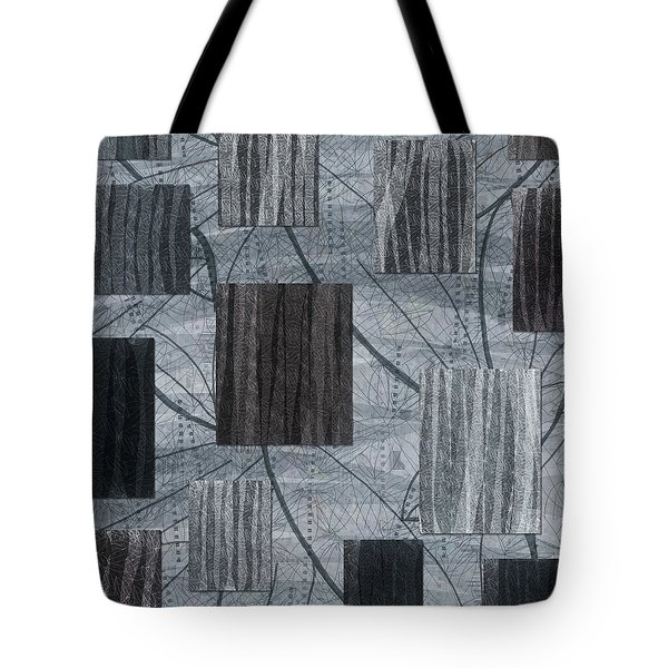 Neutral Toned Leaf Square Print Tote Bag