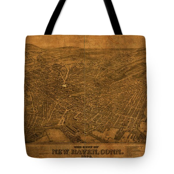 New Haven Connecticut City Street Map 1879 Tote Bag