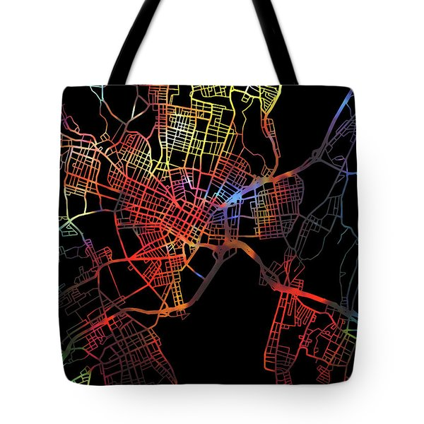 New Haven Connecticut City Watercolor Street Map Dark Mode Tote Bag