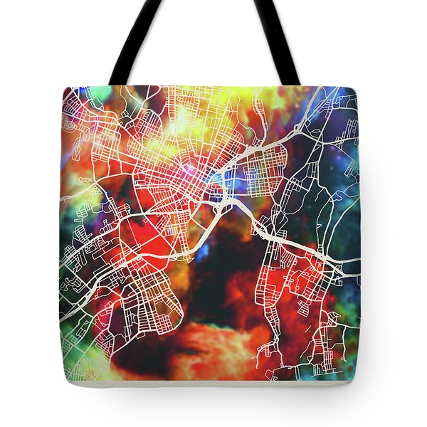 New Haven Connecticut Watercolor City Street Map Tote Bag