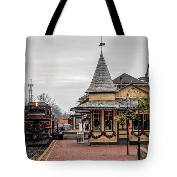 Tote Bag featuring the photograph New Hope Train Station At Christmas by Kristia Adams