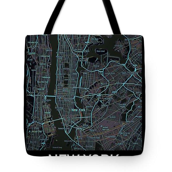 New York City Map Black Edition Tote Bag