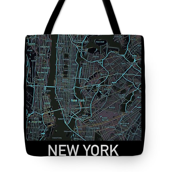 New York City Map Black Edition Tote Bag