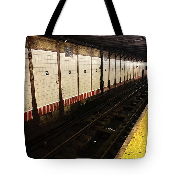 Tote Bag featuring the photograph New York City Subway Line by Shane Kelly