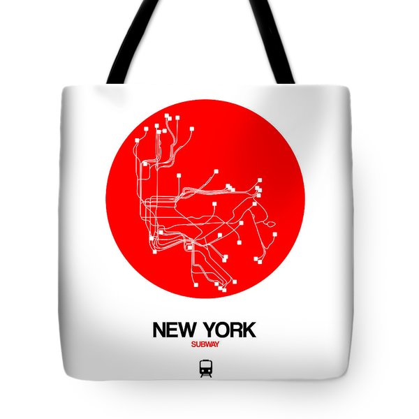 New York Red Subway Map Tote Bag