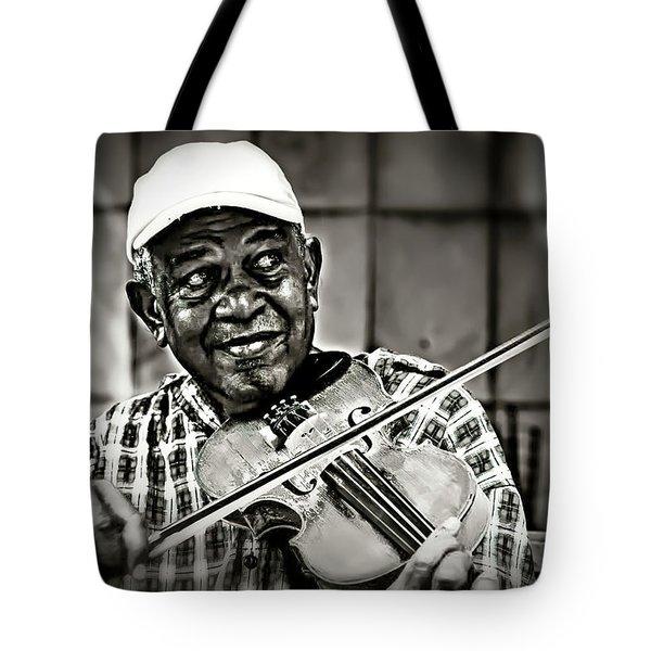 New York Street Fiddler Tote Bag