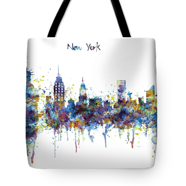 New York Watercolor Skyline Tote Bag