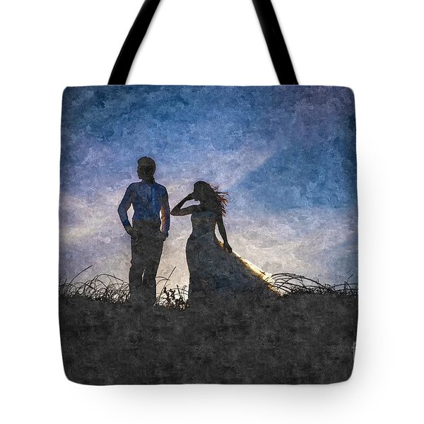 Newlywed Couple After Their Wedding At Sunset, Digital Art Oil P Tote Bag
