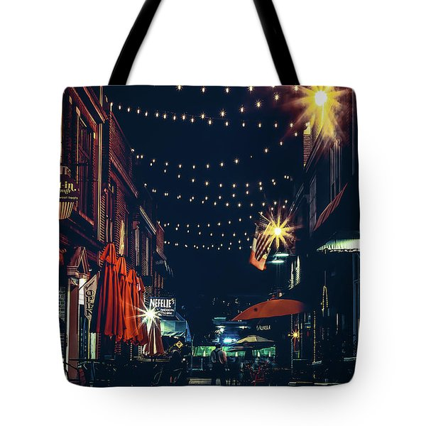 Night Dining In The City Tote Bag