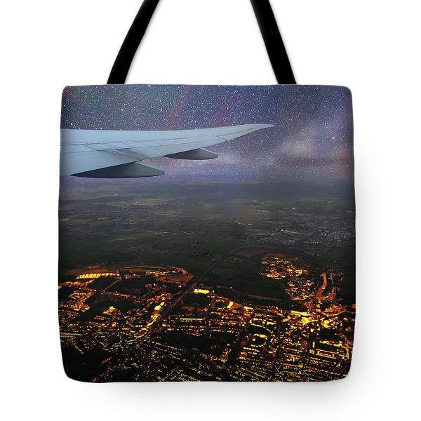 Night Flight Over City Lights Tote Bag
