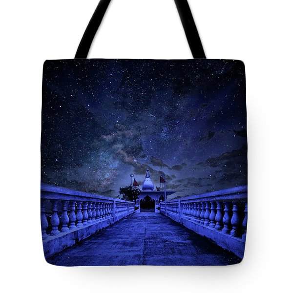 Night Sky Over The Temple Tote Bag