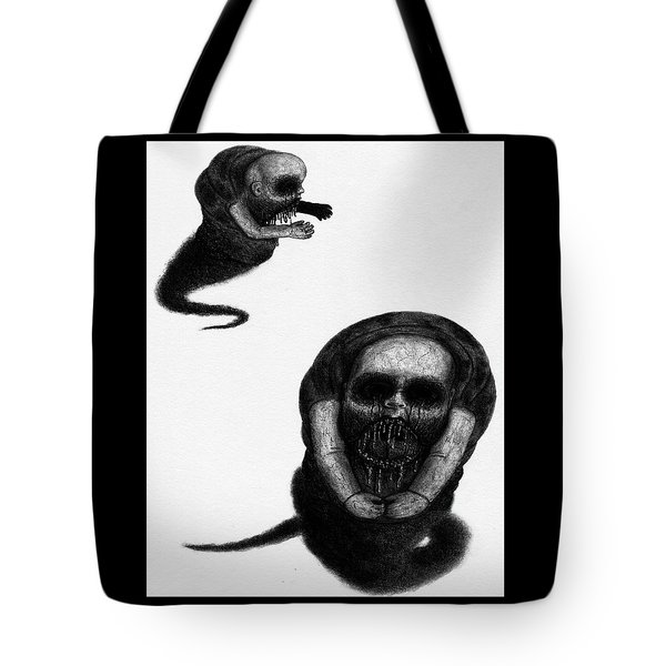 Tote Bag featuring the drawing Nightmare Chewer - Artwork by Ryan Nieves
