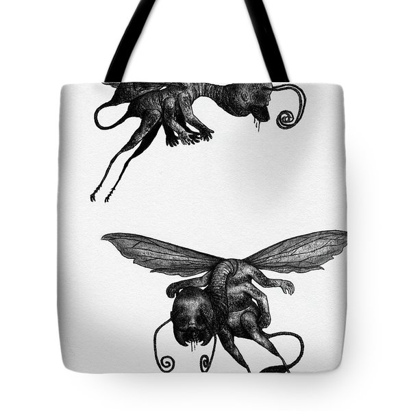 Tote Bag featuring the drawing Nightmare Stinger - Artwork by Ryan Nieves