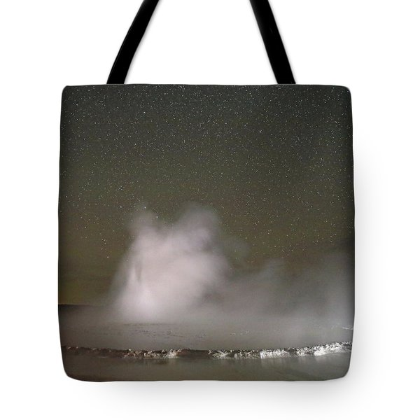 Nighttime At Great Fountain Geyser Tote Bag