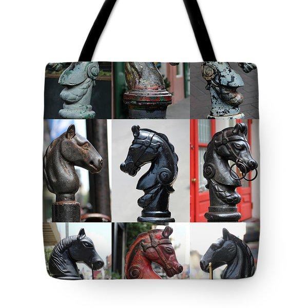 Nine Horse Head Hitching Posts Tote Bag