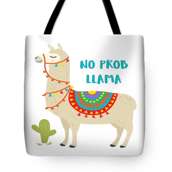 No Prob Llama - Baby Room Nursery Art Poster Print Tote Bag