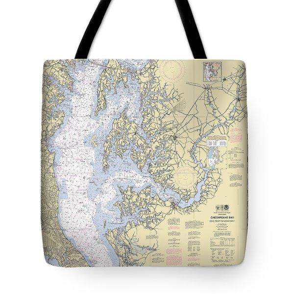 Chesapeake Bay, Cove Point To Sandy Point Nautical Chart 12263 Tote Bag
