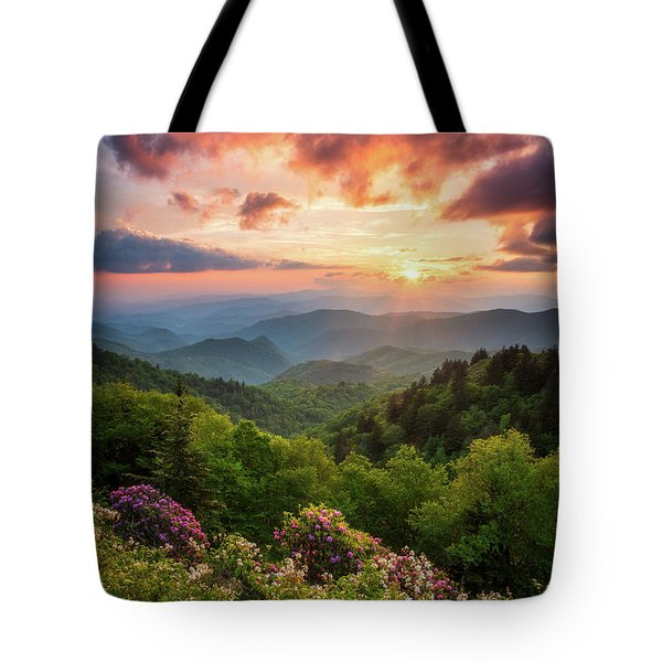 North Carolina Great Smoky Mountains Sunset Landscape Cherokee Nc Tote Bag