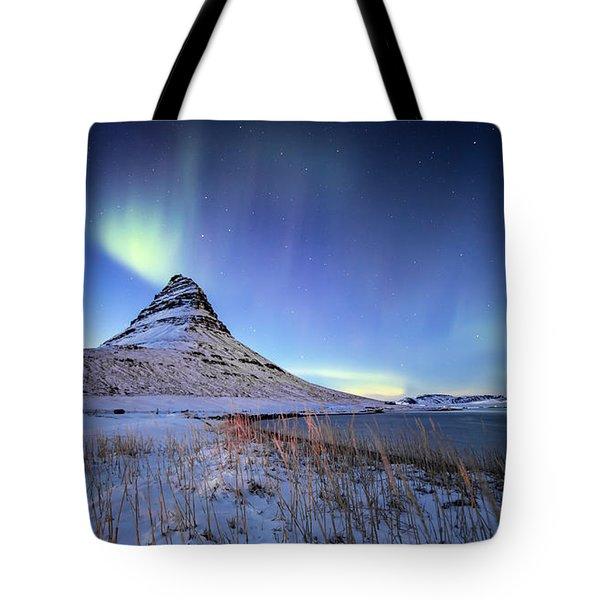 Northern Lights Atop Kirkjufell Iceland Tote Bag