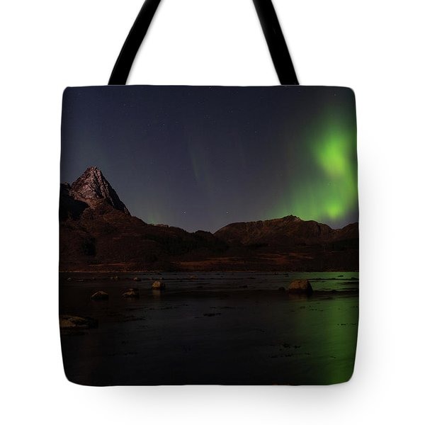 Northern Lights Aurora Borealis In Norway Tote Bag