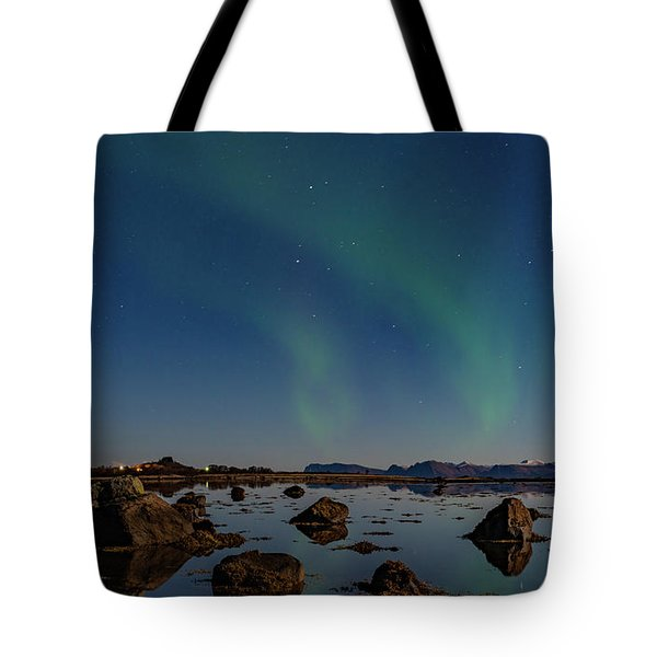 Northern Lights Over A Swamp  Tote Bag