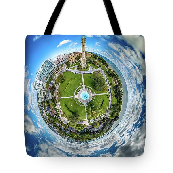 Tote Bag featuring the photograph Northpoint Water Tower Little Planet by Randy Scherkenbach