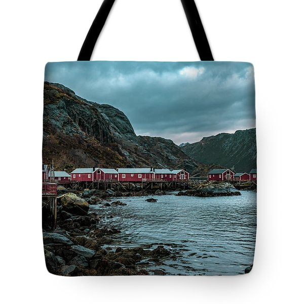 Norway Panoramic View Of Lofoten Islands In Norway With Sunset Scenic Tote Bag