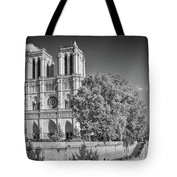 Notre Dame De Paris, Black And White Tote Bag