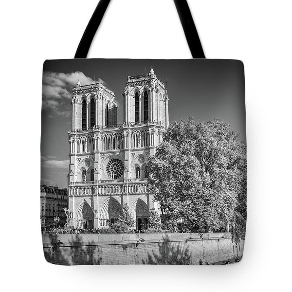 Notre Dame De Paris, Black And White Tote Bag