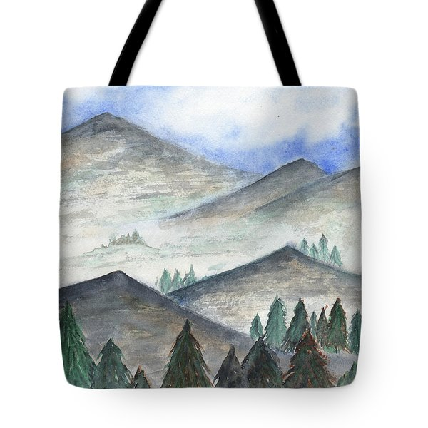 Tote Bag featuring the painting November Mountains by Betsy Hackett