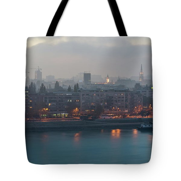 Tote Bag featuring the photograph Novi Sad Night Cityscape by Milan Ljubisavljevic