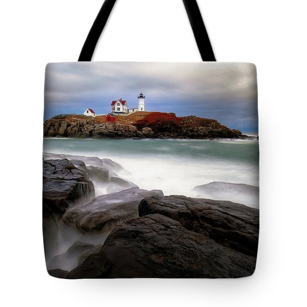 Tote Bag featuring the photograph  Nubble Lighthouse, York Me. by Michael Hubley
